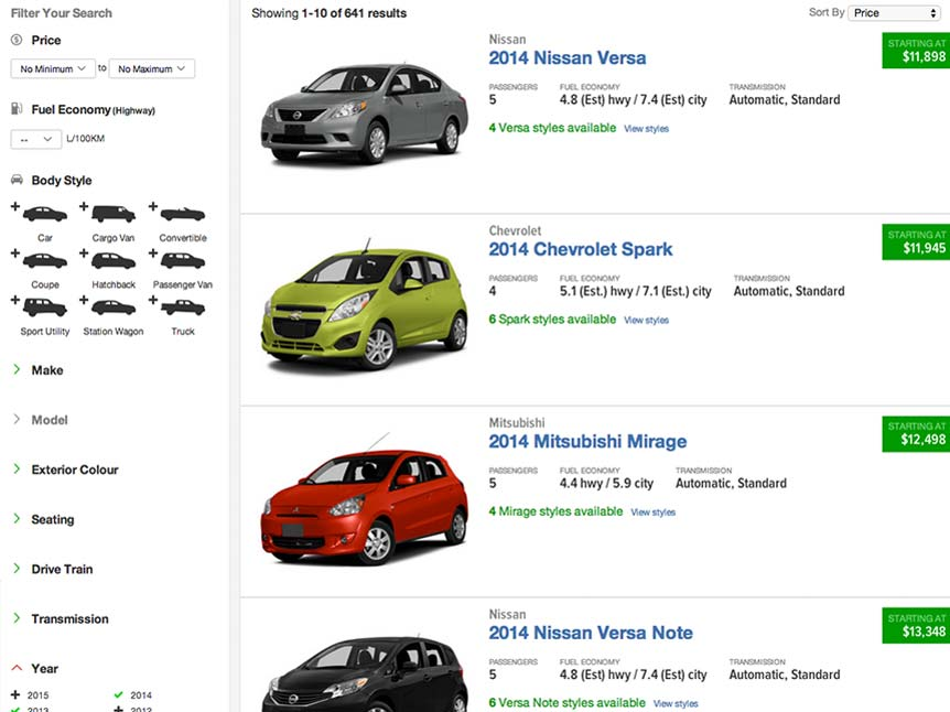 New Car Showroom search results screenshot