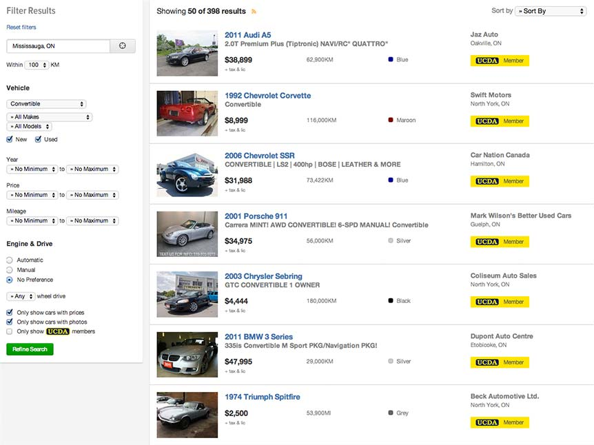 Used Car search results screenshot